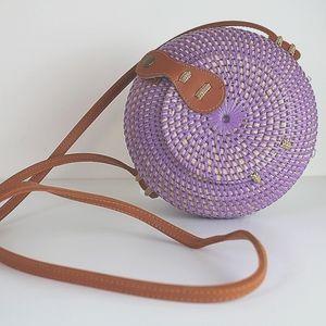 Handmade woven round lavender cross body bag